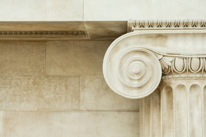 Decorative detail of an ancient Ionic column