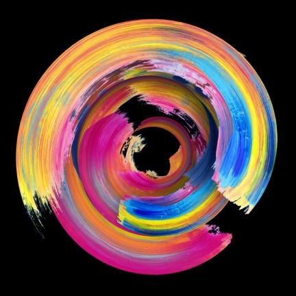 3d rendering, abstract twisted brush stroke, paint splash, splatter, colorful circle, artistic spiral, vivid ribbon